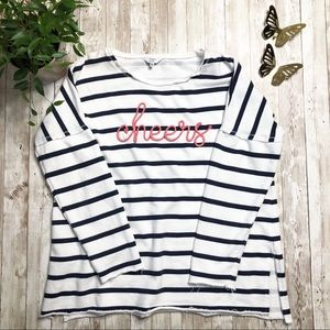 CROWN & IVY 'Cheers' Striped Raw Hem Sweater-M